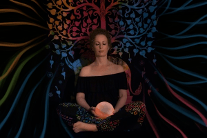 a woman using a crystal ball for divination