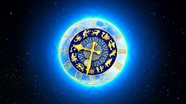 the zodiac signs on a clock face