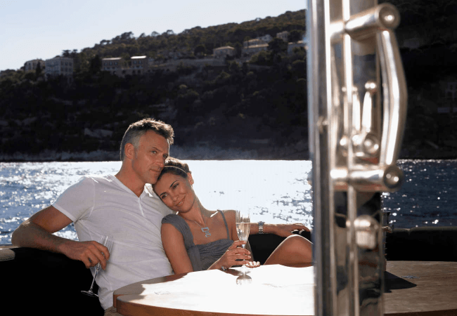 Couple romantically together on a boat
