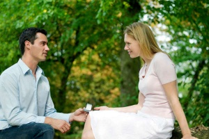 man with ring proposing to woman