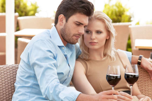 couple together drinking red wine