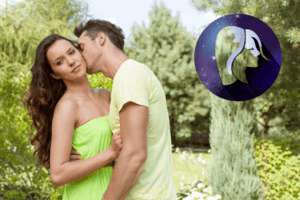 Man kissing a woman on the cheek to see how compatible he is with a Virgo.