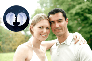 Gemini compatibility has been achieved by this couple as she wraps her arm around the shoulder of her true love.