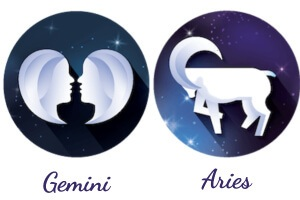 The zodiac signs of Gemini and Aries