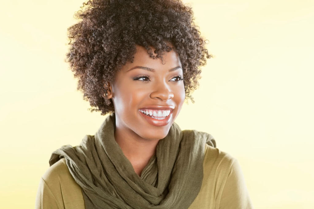 Attractive black woman smiling